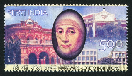INDIA - CIRCA 2011: stamp printed by India, shows Mary Ward-Loreto, buildings, circa 2011 Stock Photo - 17145757