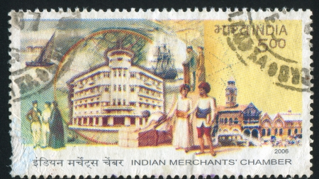 INDIA - CIRCA 2006: stamp printed by India, shows  Indian Merchants Chamber, people, circa 2006 Stock Photo - 17146202