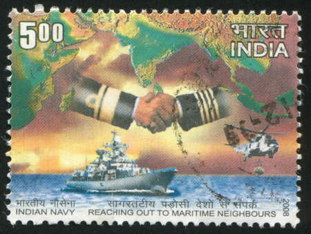 INDIA - CIRCA 2008: stamp printed by India, shows ship, hands, map, water, helicopter, circa 2008 Stock Photo - 17145418