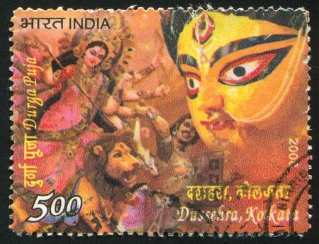 godhead: INDIA - CIRCA 2008: stamp printed by India, shows Durga Puja, lion, mask, man, goddess, circa 2008 Editorial