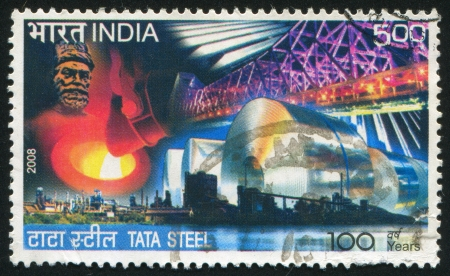 INDIA - CIRCA 2008: stamp printed by India, shows bridge, plant, steel, circa 2008
