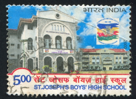 INDIA - CIRCA 2008: stamp printed by India, shows buildings of boys high school, flag, circa 2008 Stock Photo - 17145591
