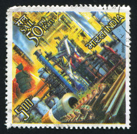 INDIA - CIRCA 2009: stamp printed by India, shows factory, pipes, circa 2009 Stock Photo - 17145259