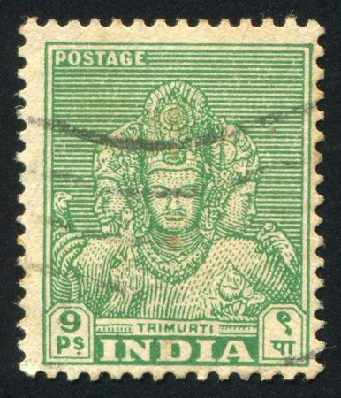 trimurti: INDIA - CIRCA 1948: stamp printed by India, shows faces of Trimurti, circa 1948