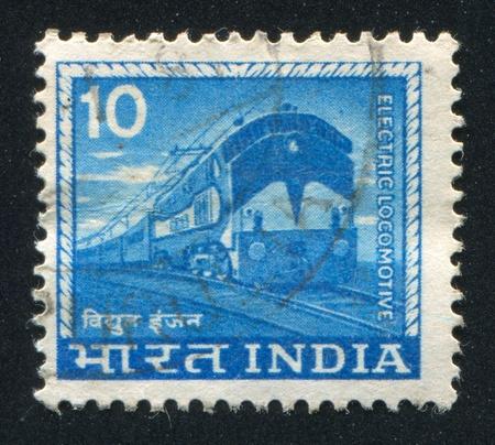 INDIA - CIRCA 1965: stamp printed by India, shows Electric locomotive, circa 1965 Stock Photo - 17145373