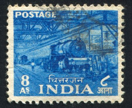 INDIA - CIRCA 1955: stamp printed by India, shows train, people, interior, circa 1955 Stock Photo - 17145346