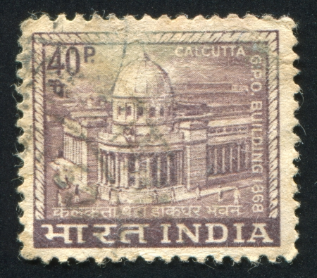 INDIA - CIRCA 1965: stamp printed by India, shows General Post Office building, circa 1965 Stock Photo - 17145269
