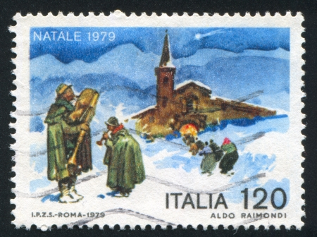 ITALY - CIRCA 1979: stamp printed by Italy, shows Minstrels and church, circa 1979