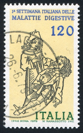 morbus: ITALY - CIRCA 1979: stamp printed by Italy, shows Patient and physician, circa 1979