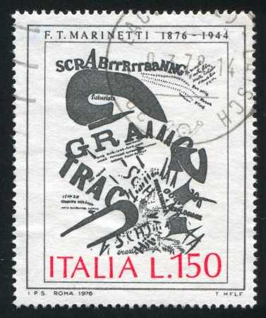 ITALY - CIRCA 1976: stamp printed by Italy, shows The gunners letter by Marinetti, circa 1976