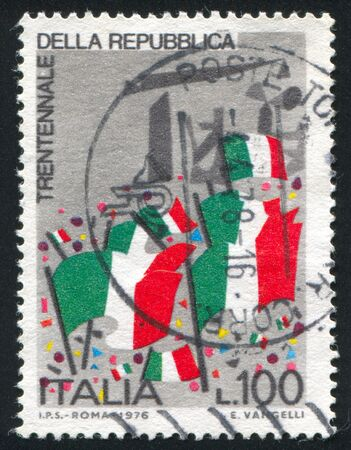 ITALY - CIRCA 1976: stamp printed by Italy, shows Italian flags, circa 1976 Editorial
