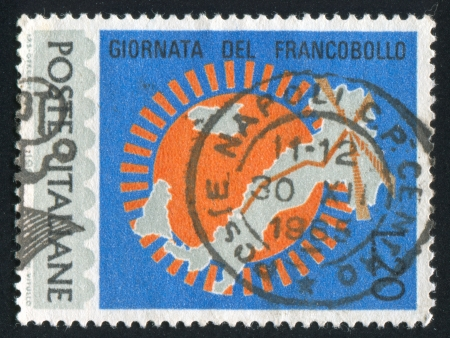ITALY - CIRCA 1965: stamp printed by Italy, shows Map of Italy with Milan - Rome highway, circa 1965