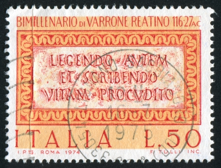 satire: ITALY - CIRCA 1974: stamp printed by Italy, shows Quotation from Manippean Satire by Varro, circa 1974