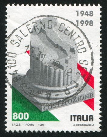 ITALY - CIRCA 1998: stamp printed by Italy, shows Column and map of Italy, circa 1998 Stock Photo - 17145432