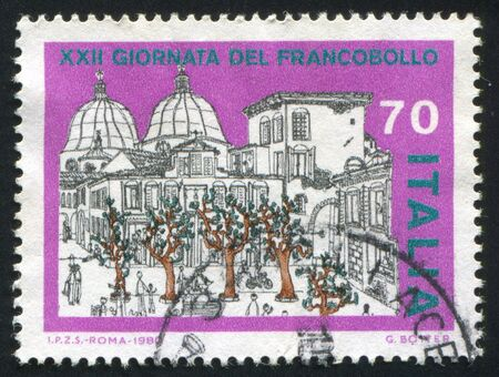 old school bike: ITALY - CIRCA 1980: stamp printed by Italy, shows Views of Verona, drawings by school children, circa 1980