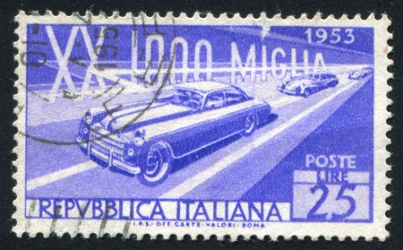 ITALY - CIRCA 1953: stamp printed by Italy, shows Racing Cars, circa 1953 Stock Photo - 17145310
