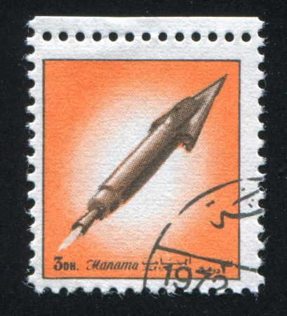 MANAMA - CIRCA 1972: stamp printed by Manama, shows a Rocket, circa 1972 Stock Photo - 17145242