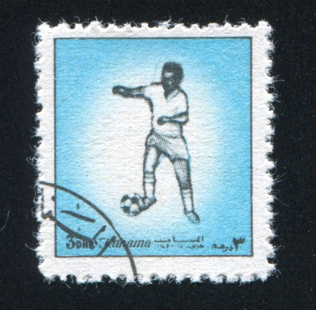 MANAMA - CIRCA 1972: stamp printed by Manama, shows Football, circa 1972 Stock Photo - 17145313