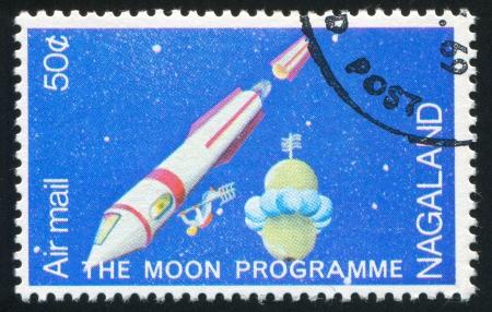 NAGALAND - CIRCA 1969: stamp printed by Nagaland, shows Spaceship and Astronaut, circa 1969 Stock Photo - 17145516