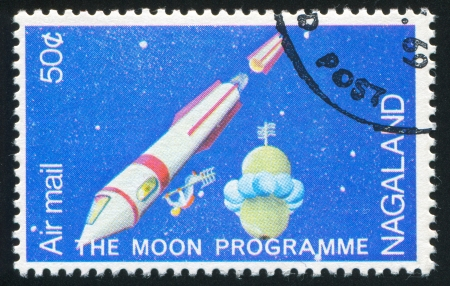 NAGALAND - CIRCA 1969: stamp printed by Nagaland, shows Spaceship and Astronaut, circa 1969 Stock Photo - 17145516
