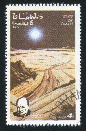winston: OMAN - CIRCA 1972: stamp printed by Oman, shows Moon Surface and Winston Churchill, circa 1972