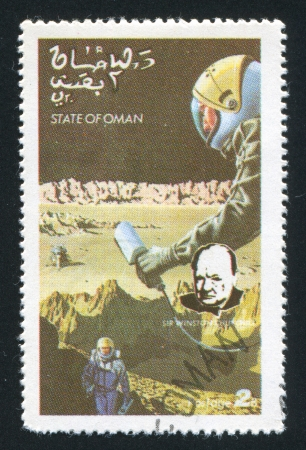 winston: OMAN - CIRCA 1972: stamp printed by Oman, shows Moon Exploration and Winston Churchill, circa 1972 Editorial