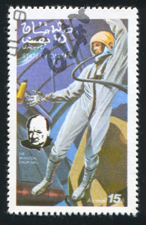 OMAN - CIRCA 1972: stamp printed by Oman, shows Astronaut and Winston Churchill, circa 1972 Stock Photo - 17145623