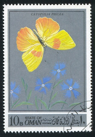 hindwing: OMAN - CIRCA 1972: stamp printed by Oman, shows a Butterfly, circa 1972