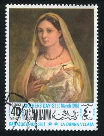 khaima: RAS AL KHAIMA - CIRCA 1968: stamp printed by Ras al Khaima, shows The woman with the veil by Raphael, circa 1968