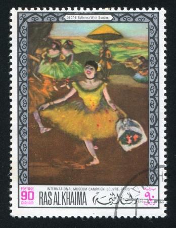 khaima: RAS AL KHAIMA - CIRCA 1968: stamp printed by Ras al Khaima, shows Ballerina with Bouquet by Degas, circa 1968