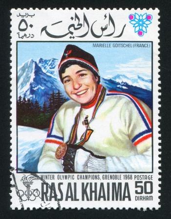 khaima: RAS AL KHAIMA - CIRCA 1972: stamp printed by Ras al Khaima, shows Marielle Goitschel, circa 1972 Editorial