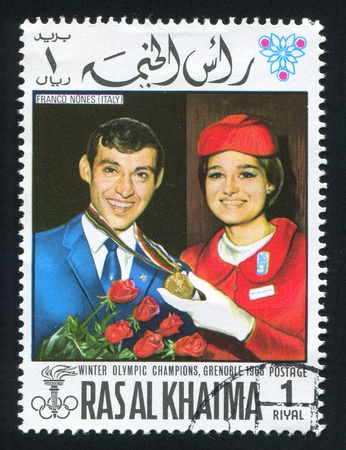 RAS AL KHAIMA - CIRCA 1972: stamp printed by Ras al Khaima, shows Franco Nones, circa 1972 Stock Photo - 17145254