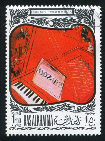 RAS AL KHAIMA - CIRCA 1972: stamp printed by Ras al Khaima, shows Homage to Mozart by Raoul Dufy, circa 1972 Stock Photo - 17145345