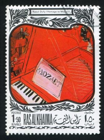 khaima: RAS AL KHAIMA - CIRCA 1972: stamp printed by Ras al Khaima, shows Homage to Mozart by Raoul Dufy, circa 1972 Editorial