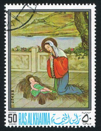 khaima: RAS AL KHAIMA - CIRCA 1972: stamp printed by Ras al Khaima, shows Madonna and child, circa 1972 Editorial