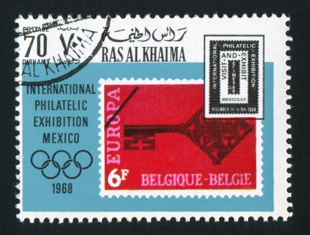 signifier: RAS AL KHAIMA - CIRCA 1968: stamp printed by Ras al Khaima, shows a Key, circa 1968 Editorial