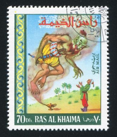 khaima: RAS AL KHAIMA - CIRCA 1972: stamp printed by Ras al Khaima, shows Jinn and his Master, circa 1972 Editorial