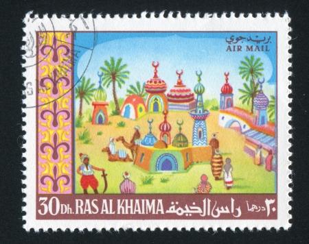 khaima: RAS AL KHAIMA - CIRCA 1972: stamp printed by Ras al Khaima, shows Fairy City, circa 1972 Editorial