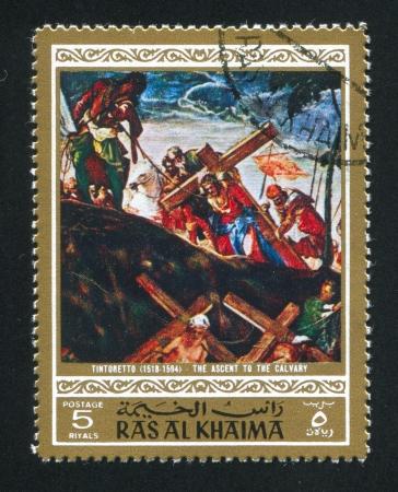 khaima: RAS AL KHAIMA - CIRCA 1972: stamp printed by Ras al Khaima, shows The Ascent to the Calvary by Tintoretto, circa 1972