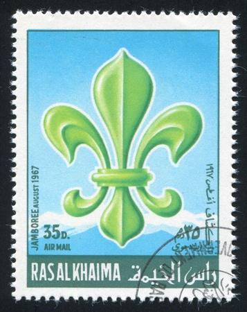 khaima: RAS AL KHAIMA - CIRCA 1967: stamp printed by Ras al Khaima, shows Jamboree Emblem, circa 1967