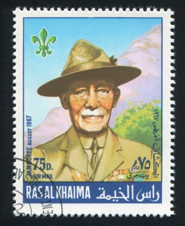 RAS AL KHAIMA - CIRCA 1967: stamp printed by Ras al Khaima, shows Baden Powell, circa 1967 Stock Photo - 17145291