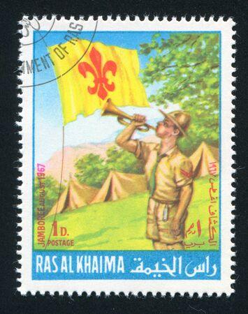 khaima: RAS AL KHAIMA - CIRCA 1967: stamp printed by Ras al Khaima, shows Boy Scout and Camp, circa 1967 Editorial