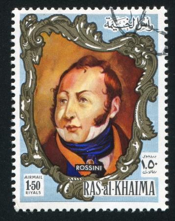 khaima: RAS AL KHAIMA - CIRCA 1972: stamp printed by Ras al Khaima, shows Rossini, circa 1972