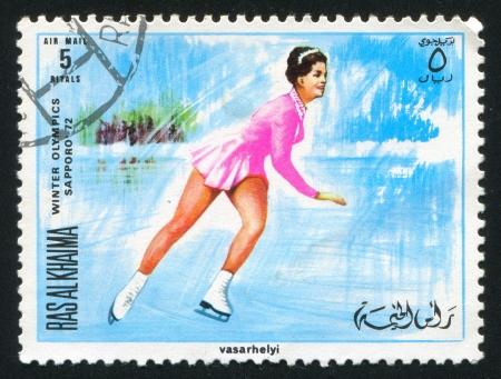 khaima: RAS AL KHAIMA - CIRCA 1972: stamp printed by Ras al Khaima, shows Figure Skating at Olympics, circa 1972