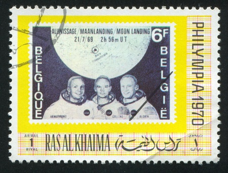 RAS AL KHAIMA - CIRCA 1970: stamp printed by Ras al Khaima, shows Apollo Astronauts, circa 1970 Stock Photo - 17145290