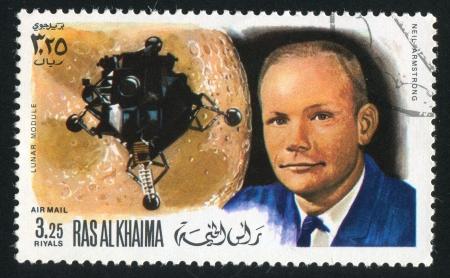 RAS AL KHAIMA - CIRCA 1972: stamp printed by Ras al Khaima, shows Lunar Module and Neil Armstrong, circa 1972 Stock Photo - 17145467