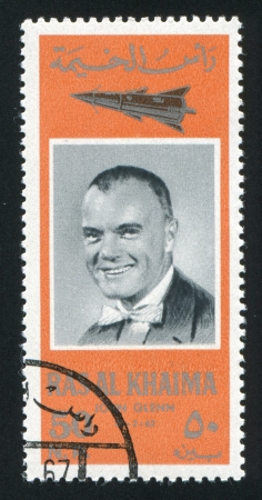 RAS AL KHAIMA - CIRCA 1972: stamp printed by Ras al Khaima, shows John Glenn, circa 1972 Stock Photo - 17145237