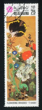 khaima: RAS AL KHAIMA - CIRCA 1972: stamp printed by Ras al Khaima, shows Flowering Grasses by T. Kagei, circa 1972 Editorial