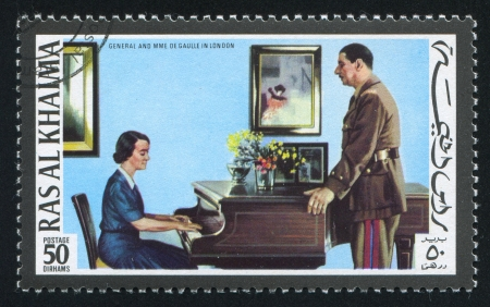 RAS AL KHAIMA - CIRCA 1972: stamp printed by Ras al Khaima, shows General and Madame de Gaulle in London, circa 1972 Stock Photo - 17145540