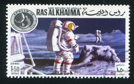 RAS AL KHAIMA - CIRCA 1972: stamp printed by Ras al Khaima, shows Apollo 14 and Moon Surface, circa 1972 Stock Photo - 17145744